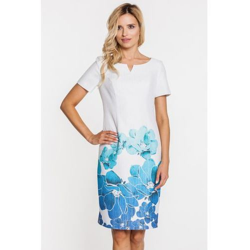 Sukienka w turkusowo-niebieskie kwiaty - Metafora, kolor beżowy