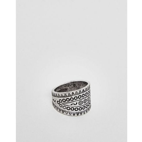 Classics 77 patterned chunky ring in silver - silver