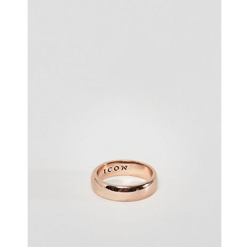 Icon brand band ring in rose gold - gold