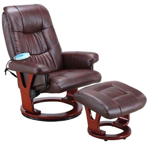Regoline Brązowy fotel masujący wypoczynkowy biurowy masaż grzanie - brązowy