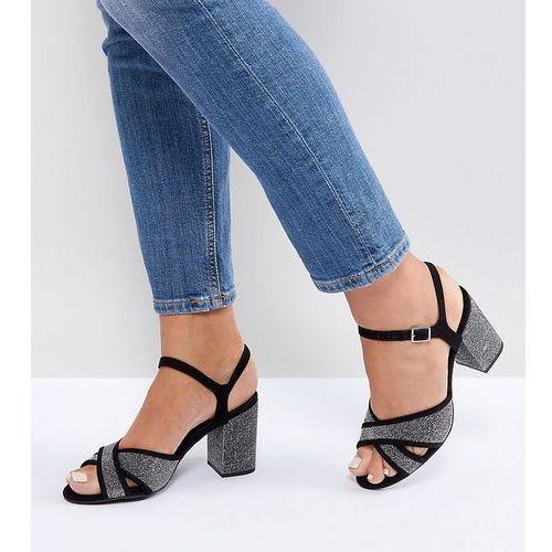 New look wide fit cross strap glitter low block heel sandal - silver
