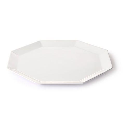 HK Living Kolekcja Athena: ośmiokątny talerz obiadowy biały ACE6848 (8718921030854)