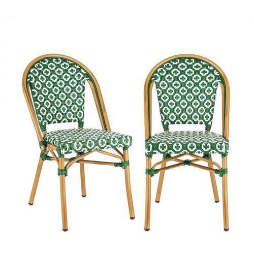 Blumfeldt montbazin gr krzesło możliwość ułożenia jedno na drugim rama aluminiowa polirattan zielony (4060656152832)