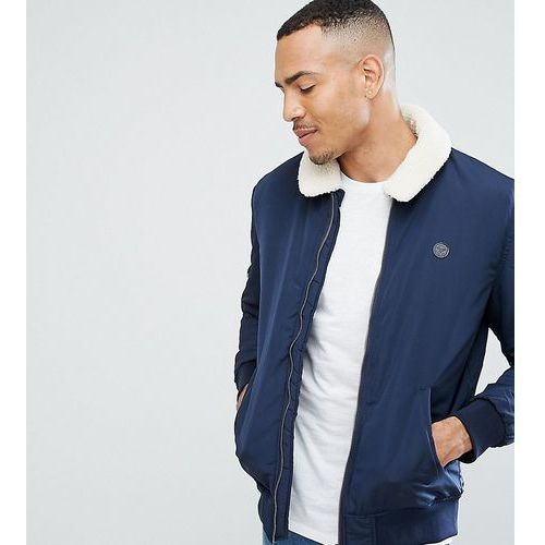 Le Breve TALL Aviator Jacket with Borg Collar - Navy