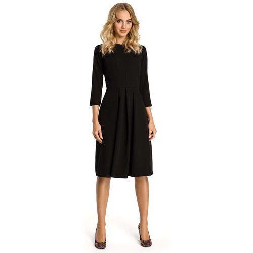 Czarna Sukienka z Dołem w Kontrafałdy, w 5 rozmiarach
