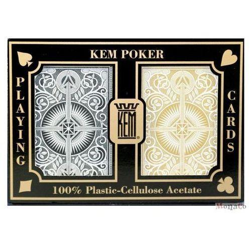 Karty kem pokerowe jumbo - czarno-złote - 100% plastik uspc karty kem pokerowe jumbo - czarno-złote - 100% plastik uspc marki Kem - uspc - u.s. playing card