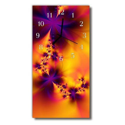 Zegar Szklany Pionowy Kwiaty abstrakcja kolorowy, kolor wielokolorowy