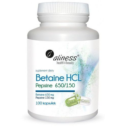 Betaine HCL, Pepsyna 650/150 mg x 100 kaps. Aliness (5902596935900)