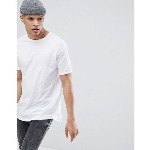 longline t-shirt in white - white, Bershka, XS-XL