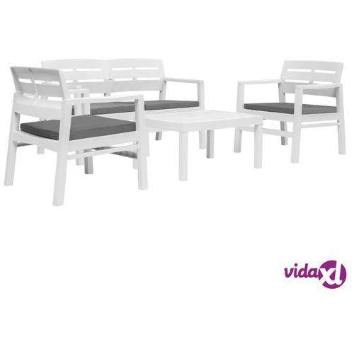 vidaXL 4-cz. zestaw mebli wypoczynkowych do ogrodu, plastik, biały (8719883564067)