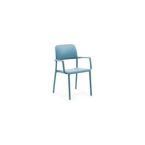 Krzesło Riva z podłokietnikami niebieski e, kolor niebieski