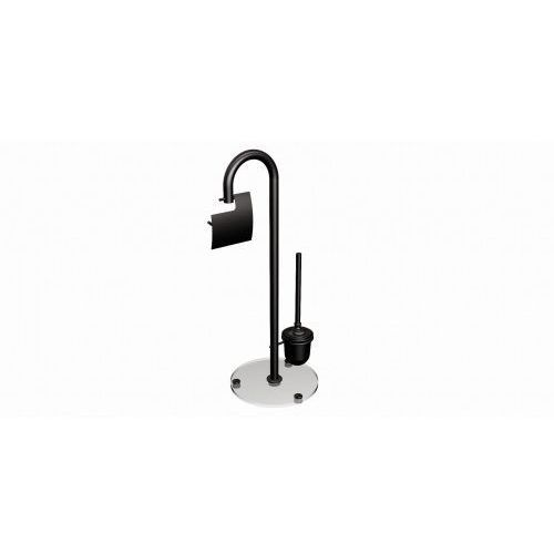 Andex Zestaw wieszak na papier toaletowy + szczotka do wc stojący czarny