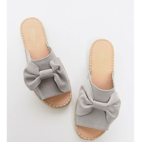 wide fit suede bow espadrille sliders - grey, Park lane