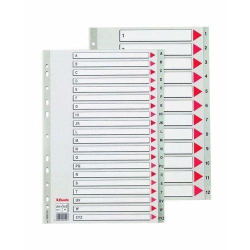 Przekładki 1-5 plastikowe ESSELTE PP A4 numeryczne szare - X02733