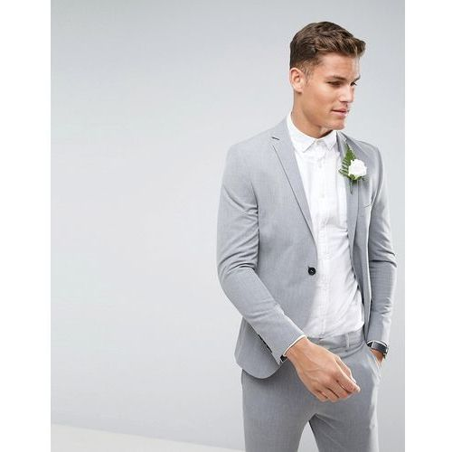Selected Homme Super Skinny Wedding Suit Jacket With Stretch - Grey, kolor szary