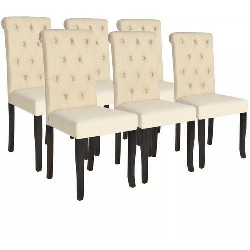 Krzesła do jadalni, 6 szt., lite drewno i kremowa tkanina