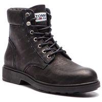 Kozaki TOMMY JEANS - Embossed Nubuck Boot EM0EM00234 Black 990, w 3 rozmiarach