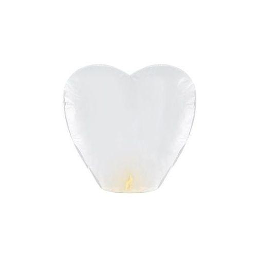 Party deco Lampion szczęścia - białe serce - 10 szt.