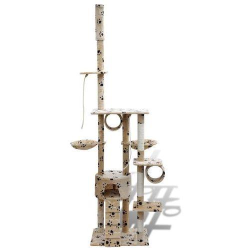 Vidaxl  drapak dla kota 220 - 240 cm, 1 domek, beżowy z motywem w łapki