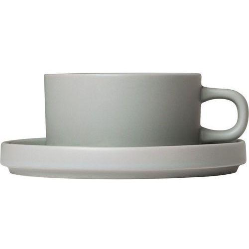 Filiżanki do herbaty ze spodkami Mio Blomus jasnoszary, 2 zestawy (B63912) (4008832773464)