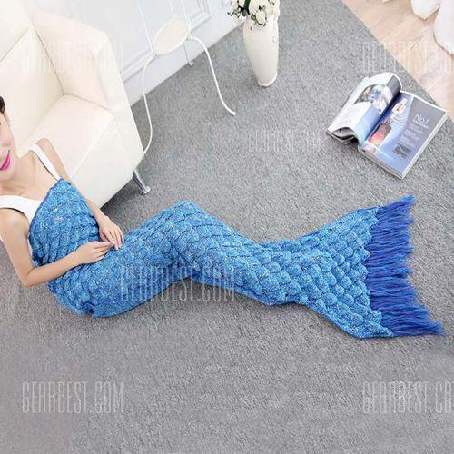 2016 Stylish Fringed Fish Tail Design Sleeping Bag Mermaid Shape Knitting Blanket