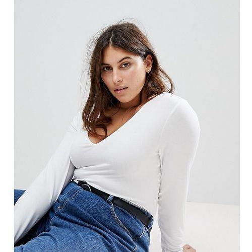 Asos curve Asos design curve ultimate top with long sleeve and v-neck in white - white