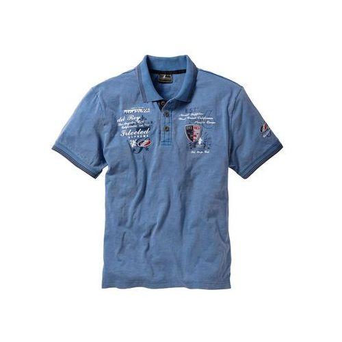 Bonprix Shirt polo z efektownym zdobieniem niebieski dżins