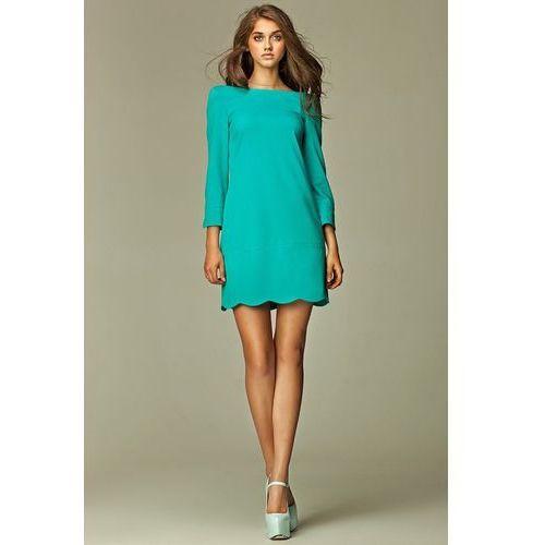 Intrygująca sukienka z zamkiem na plecach - morski - S28, w 5 rozmiarach