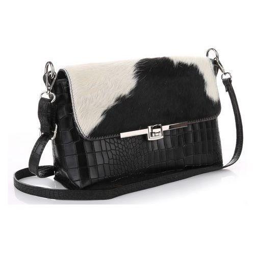 ff37c0096d6e8 Genuine leather Ekskluzywna włoska listonoszka skórzana krówka czarno biała
