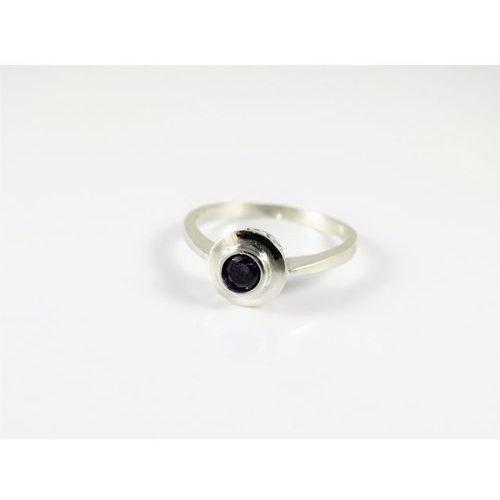 Srebrny pierścionek 925 FIOLETOWE OCZKO r. 13, kolor fioletowy