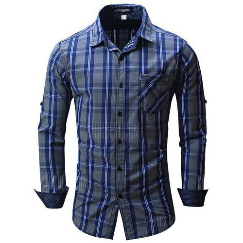 Fredd marshall fm102 male check casual long sleeve shirt, Gearbest