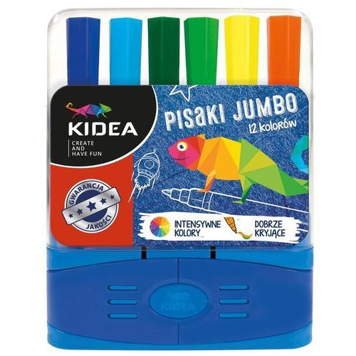 Flamastry 12 kolorów jumbo w etui Kidea + zakładka do książki GRATIS