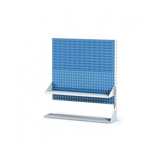 Perforowany stojak z panelem na pojemniki, narzędzia i półkę 2 piętra, dostawne pole