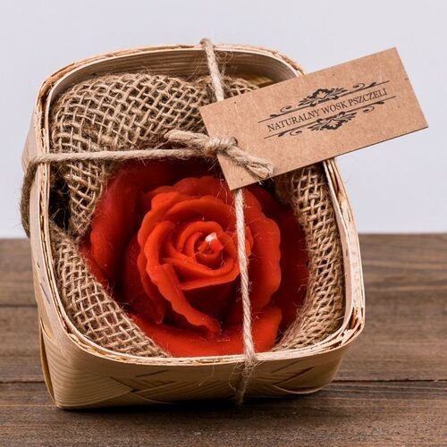 Świeca woskowa czerwona róża w łubiance (45 mm / 80 mm) marki Łysoń