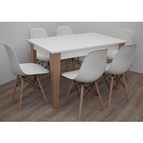 śliczny zestaw do kuchni/salonu stół 80x120 do 165 + 6 krzeseł K-87