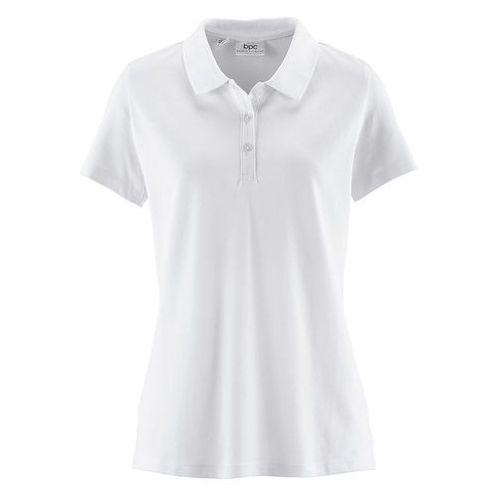 Shirt polo z rękawami 1/2 biały marki Bonprix