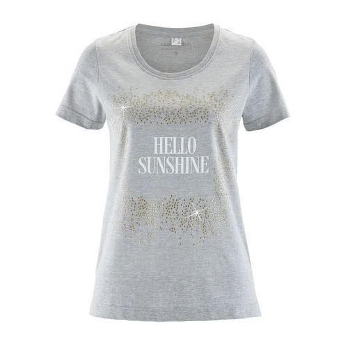 T-shirt bonprix jasnoszary melanż z nadrukiem