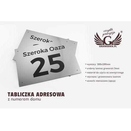 Grawernia.pl - grawerowanie i wycinanie laserem Tabliczka z numerem domu - wym. 300x200mm - srebrny zewnętrzny laminat grawerski 3mm