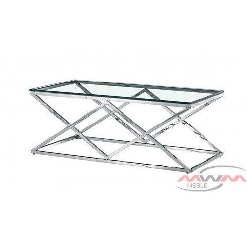 Stolik kawowy metalowy chrom + szkło cs-06 90x60 cm marki Meblemwm