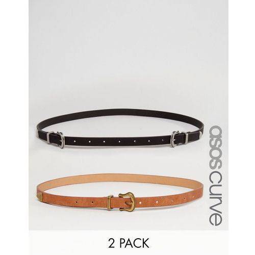 Asos curve  2 pack western double and single buckle waist and hip belt - multi, kategoria: paski