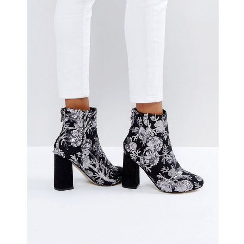 floral sequin embellished heeled ankle boot - grey marki New look