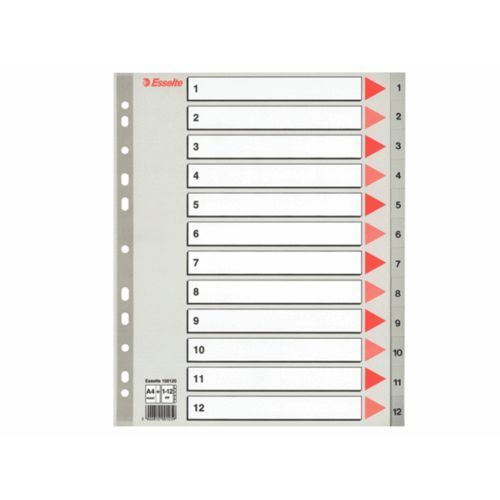 ESSELTE Przekładki plastikowe szare PP alfabetyczne A4, 1-12 maxi