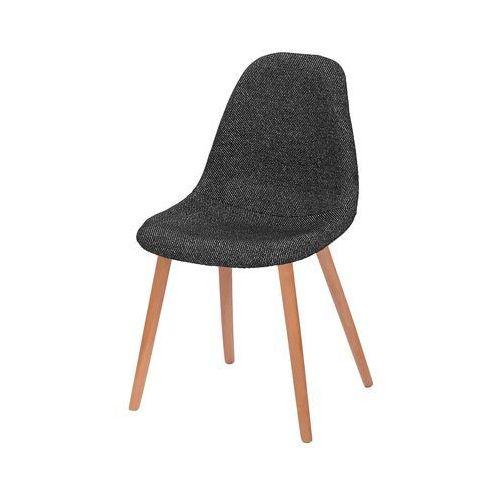 Krzesło tapicerowane plush - podstawa bukowa - zebra czarna marki King home