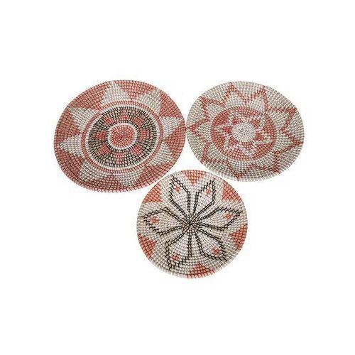 Vente-unique Zestaw 3 dekoracji ściennych walia z trawy morskiej – śr. 49, 46 i 38 cm – kolor naturalny i wielokolorowy