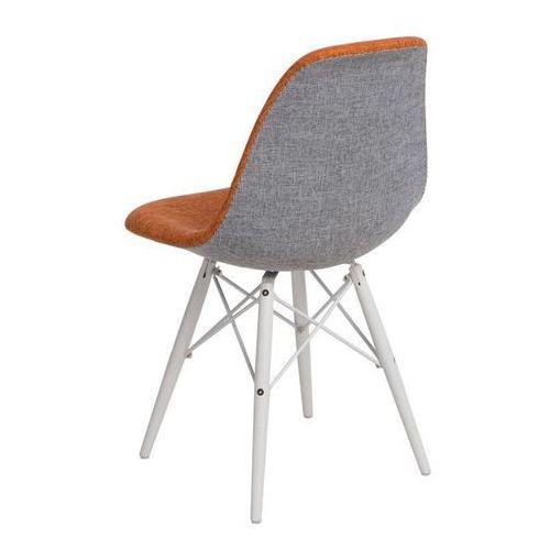 Krzesło P016W Duo białe drewniane nogi (pomarańczowo-szare) D2, kolor pomarańczowy