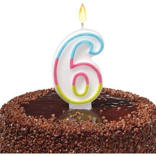 Świeczka na tort urodziny cyfra 6 7,5cm SUSY-CARD - cyfra 6
