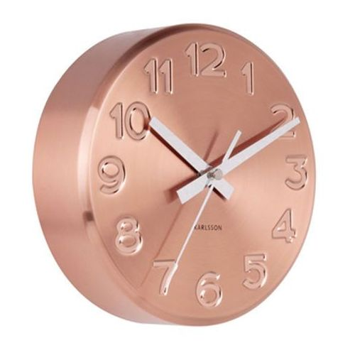 Zegar ścienny Bold Engraved numbers steel copper by Karlsson, KA5477CO