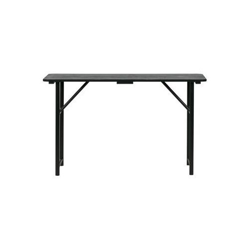 Stolik z drewnianym blatem i z żelaznymi nogami czarny (8714713070763)