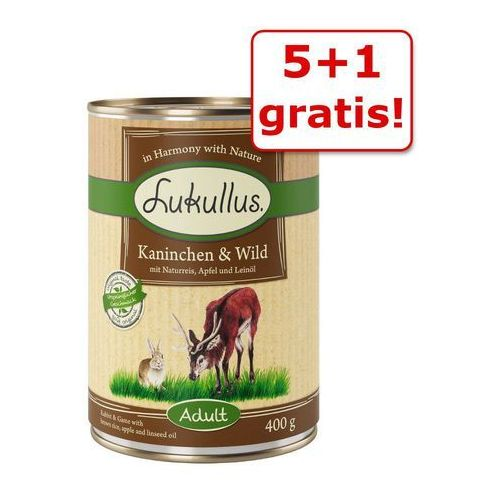 5 + 1 gratis! Lukullus Natural, 6 x 400 g - Królik i dziczyzna