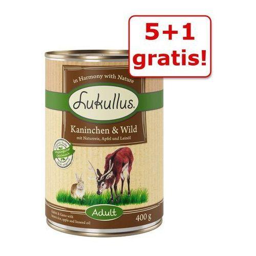 5 + 1 gratis! Lukullus Natural, 6 x 400 g - Serca z indyka i gęś